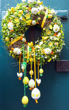 Easter wreath. With flowers grows and ribbon Stock Photo
