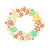 Easter wreath of flowers and painted eggs. Festive frame in vector.  Royalty Free Stock Photography