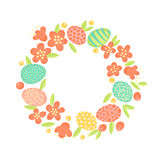 Easter wreath of flowers and painted eggs. Festive frame in vector.  Royalty Free Stock Image