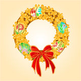 Easter wreath with forsythia and Easter eggs vector Royalty Free Stock Photography