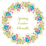 Easter wreath greeting card with floral frame. Vector drawing, pink and red rose flower buds, forget me not flowers, twigs, sprigs Royalty Free Stock Photos