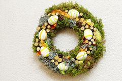 Easter wreath made of natural materials Royalty Free Stock Photos