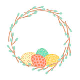 Easter wreath made of willow branches and painted eggs. Festive frame in vector Stock Images