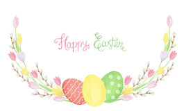 Free Easter Wreath Of Watercolor Tulip. Stock Photos - 66024743