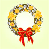 Easter wreath with pussy willow and Daffodil vector Royalty Free Stock Photos