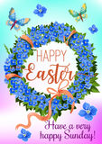 Easter wreath of spring flowers greeting card. Blue flowers of forget-me-not, green leaves, pink ribbon, bow and flying butterflies cartoon poster for Easter Stock Photos