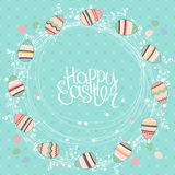 Easter wreath with stylized painted eggs. Stock Image