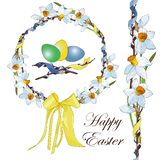 Easter wreath of white and yellow narcissus daffodils and willow stock illustration