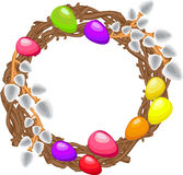 Easter wreath with willows, colored eggs Royalty Free Stock Photo