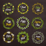 Easter wreaths with plants and flowers on Royalty Free Stock Photo