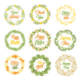 Easter wreaths with plants and flowers Stock Image