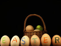 Easter written on eggs. Royalty Free Stock Image