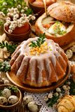 Easter yeast cake with icing and candied orange peel, delicious Easter dessert. Traditional Easter pastries in Poland stock images