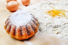 Easter yeast cake on wooden kitchen board Royalty Free Stock Photography