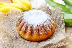 Easter yeast cake on wooden kitchen board Stock Photography