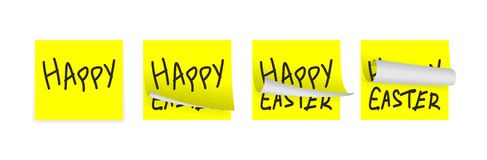 Easter yellow adhesive papers. Set of few little easter yellow adhesive papers Royalty Free Stock Images