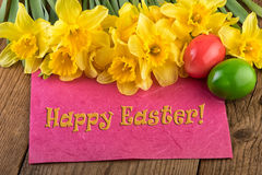Easter yellow flowers greeting card Happy Royalty Free Stock Images
