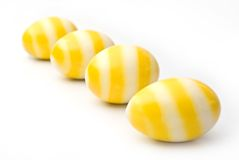 Easter, Yellow line on egg, Isolated Royalty Free Stock Photos