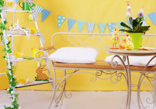 Easter yellow studio decor Royalty Free Stock Images