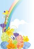 Easterbackground con las flores y los huevos. stock de ilustración