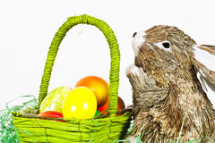 Easterbunny mit Eiern Lizenzfreies Stockfoto