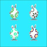 Easter bunnies are holding the gift stock illustration