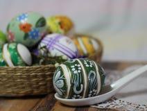 Easteregg spoon basket Royalty Free Stock Photo