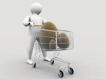 Eastereggs all'interno del carrello di acquisto immagine stock libera da diritti