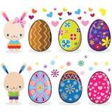 EasterEggs with Cute Bunny Stock Photos