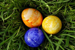 Eastereggs in the grass 4. Tangerine, yellow and blue eastereggs lying in the grass royalty free stock photography
