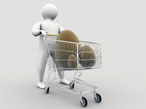 Eastereggs within shopping cart Royalty Free Stock Image