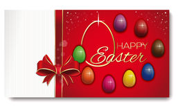 Easterg greeting card. Eight colored eggs on a festive red background. Happy Easter. Festive Easter background with ribbon and bow. Vector illustration Stock Images