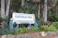 Easterlin Park Entrance Sign Outside. Oakland Park, FL, USA - November 8, 2016: Entrance sign outside of Easterlin Park at 1000 NW 38th Street. Easterlin Park royalty free stock images