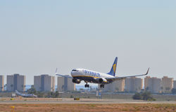 Ryanair Final Approach - Touching Down Landing Alicante Airport Stock Images