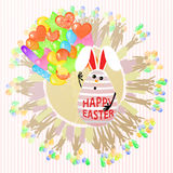 Easterly happy egg rabbit cute with balloons a lot. Concept of a holiday. Vector for your design Stock Image