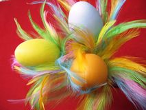 Eastern. Three coloured eggs with feathers as a table decoration Royalty Free Stock Photos