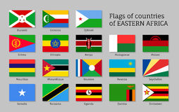 Eastern Africa flags flat icons set Royalty Free Stock Image