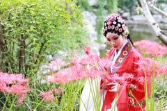 Aisa Chinese woman Peking Beijing Opera Costumes Pavilion garden China traditional role drama play manjusaka royalty free stock image