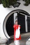 Aisa Chinese woman Peking Beijing Opera Costumes Pavilion garden China traditional role drama play stock photos