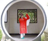 Aisa Chinese woman Peking Beijing Opera Costumes Pavilion garden China traditional role drama play dress dance perform fan ancient. Eastern Asian oriental stock image