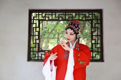 Aisa Chinese opera female Peking Beijing Opera Pavilion garden outdoor china traditional costume bride role drama play royalty free stock image