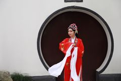 Aisa Chinese woman Peking Beijing Opera Costumes Pavilion garden China traditional role drama play dress dance perform fan ancient. Eastern Asian oriental royalty free stock photography