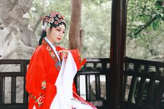 Aisa Chinese woman Peking Beijing Opera Costumes Pavilion garden China traditional role drama play dress dance perform ancient. Eastern Asian oriental stock image