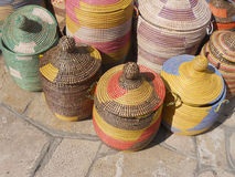 Eastern baskets. Exhibition of objects that represent eastern culture Royalty Free Stock Photo