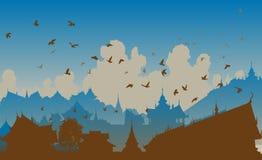 Eastern bird city stock illustration