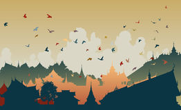 Eastern bird city. Colorful editable  illustration of birds over a generic east asian city Royalty Free Stock Image