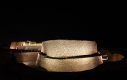 Eastern blocks of Bahrain fort at night Stock Photography