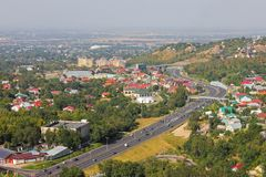Eastern bypass road to Almaty. royalty free stock photo