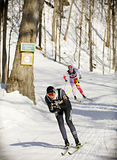 Eastern Canadian Championships. Kate Brennan (front) from the Kanata Nordic ski club competes in the womens 1. 6km classic sprint event during the Haywood NorAm stock image