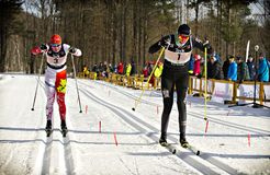 Eastern Canadian Championships. Kate Brennan (right) from the Kanata Nordic ski club finishes 3rd in the womens A final 1.6km classic sprint event during the stock image